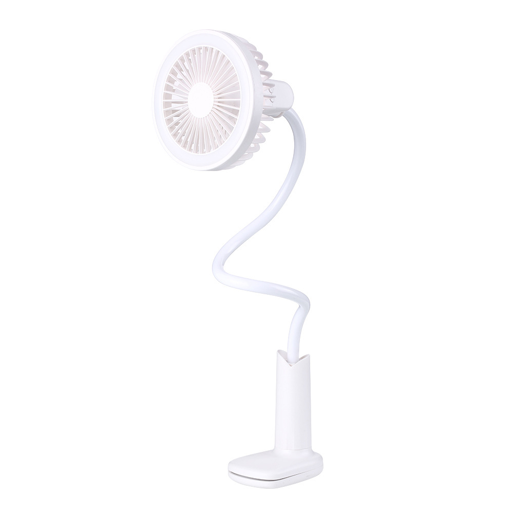 Adjustable Shower Head Shape USB Charging Desk Fan with Clip LED Table Lamp  white