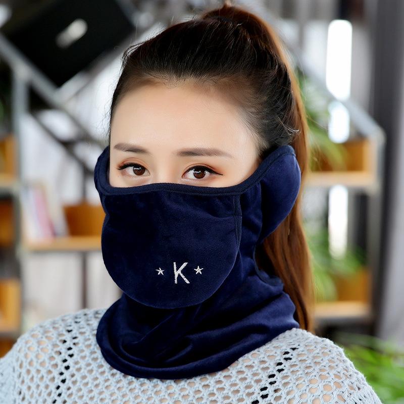 Men Women Winter Warm Coral Fleece Windproof Ear Protection Mask Letter navy