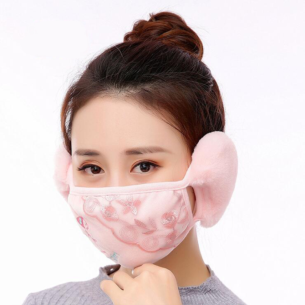 Men Women 2 in 1 Winter Fashion Warm Lace Protect Ears Cycling Windproof Anti-Dust Mouth Face Mask Pink