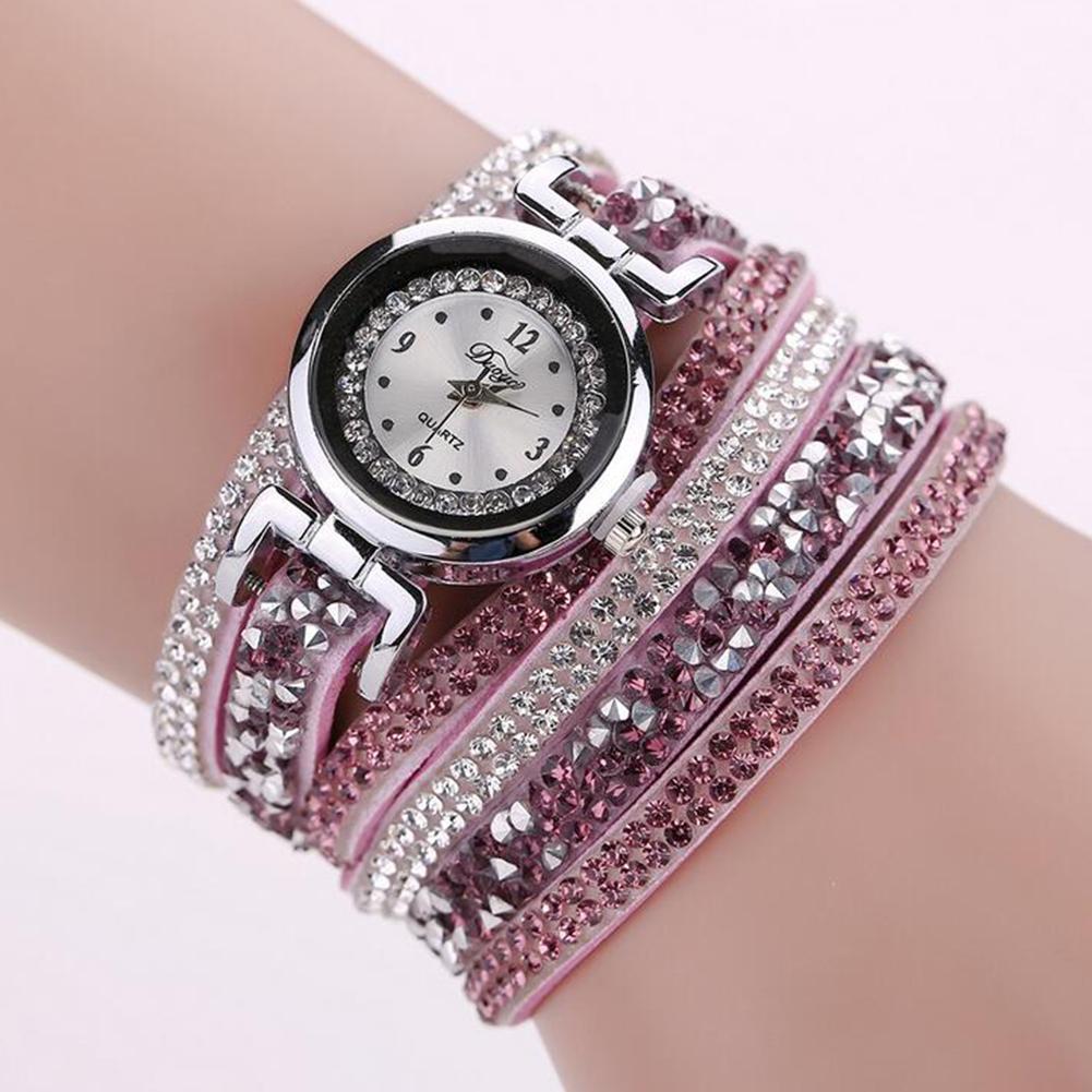 Women Girl Retro Exquisite Weaving Crystal Casual Bracelet Quartz Watch