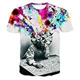 Unicomidea Men's Short Sleeve 3d Creative Graffiti Print Hip Hop Style T-shirts style1 XX-Large