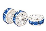 MBOX Silver Plated Rhinestone Crystal Rondelle Spacer Beads 8mm Various Color (Blue)