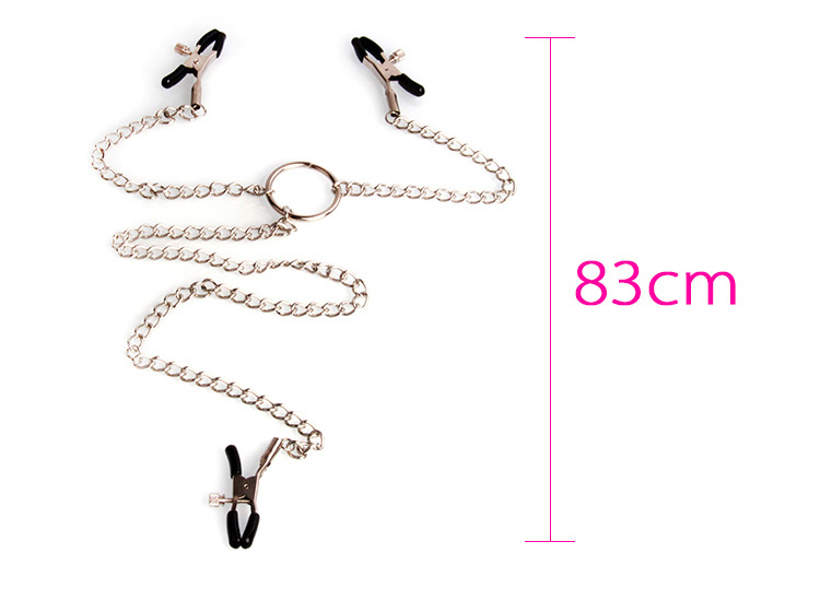 [US Direct] 3 Heads Ladys Breast Nipple Stimulating Nipple Clit Clip w Chain Sex Game Hot
