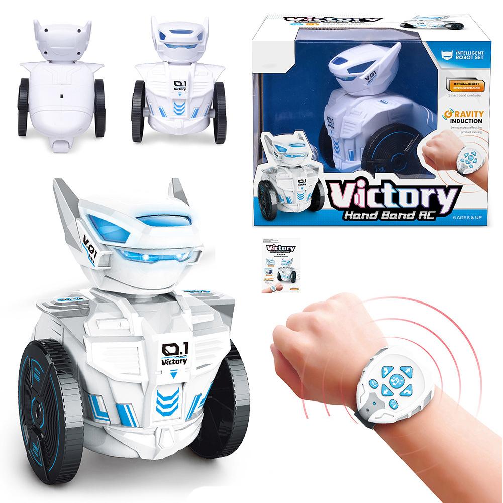 DIY007 Gravity induction Watch Remote Control Car Robot 2.4G RC Intelligent Robot Children Toys BG1526 watch remote sensing robot [window box / finished version] 600g