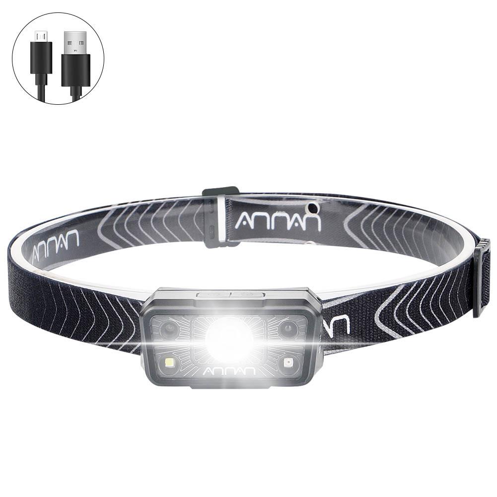 Usb  Rechargeable  Headlight Waterproof Sensor Led Night Running Light Mini Portable Outdoor Headlight Black