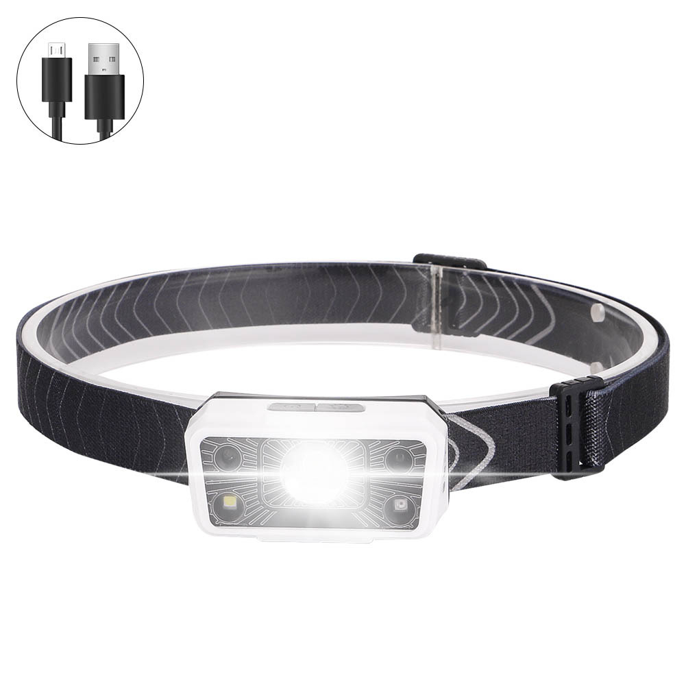 Usb  Rechargeable  Headlight Waterproof Sensor Led Night Running Light Mini Portable Outdoor Headlight White