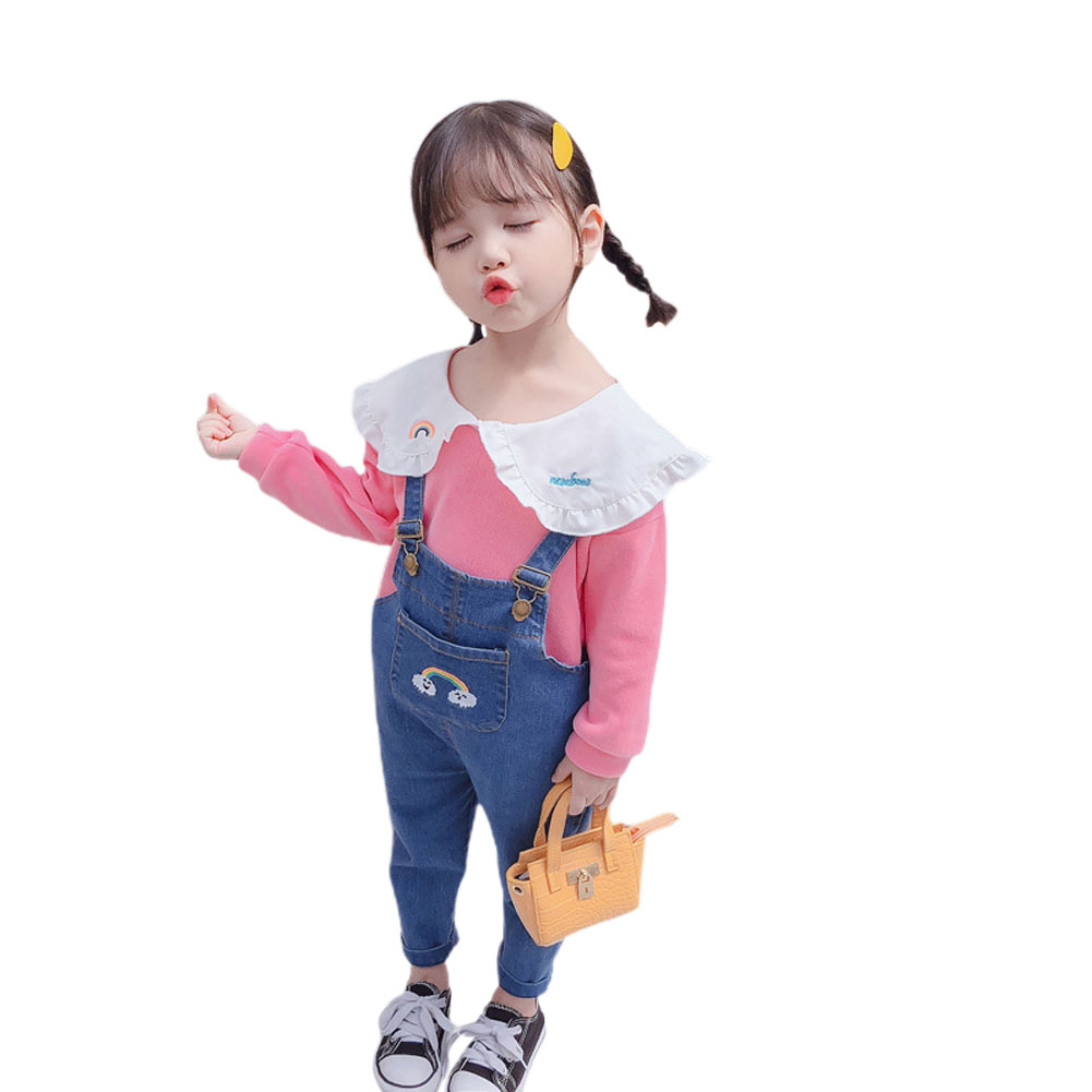 2 Pcs/set  Girls Sui Spring and Autumn Long-sleeve Top + Denim Colorful Overalls for 1-4 Years Old Kids Pink_90cm