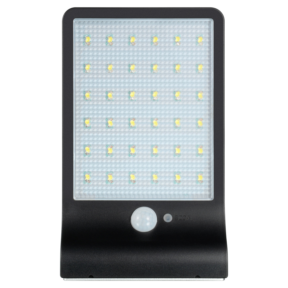 Waterproof Solar-Powered LED Street Lamp Light Sensor & Human Body Induction Lawn Yard Light  36 lights black shell white light