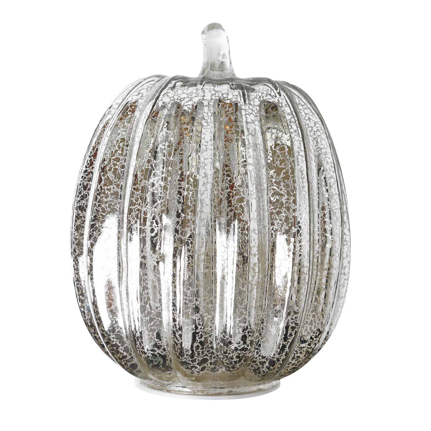 Glass Pumpkin Lamp for Halloween Ghost Party Festival Decorations  Silver 14*22cm
