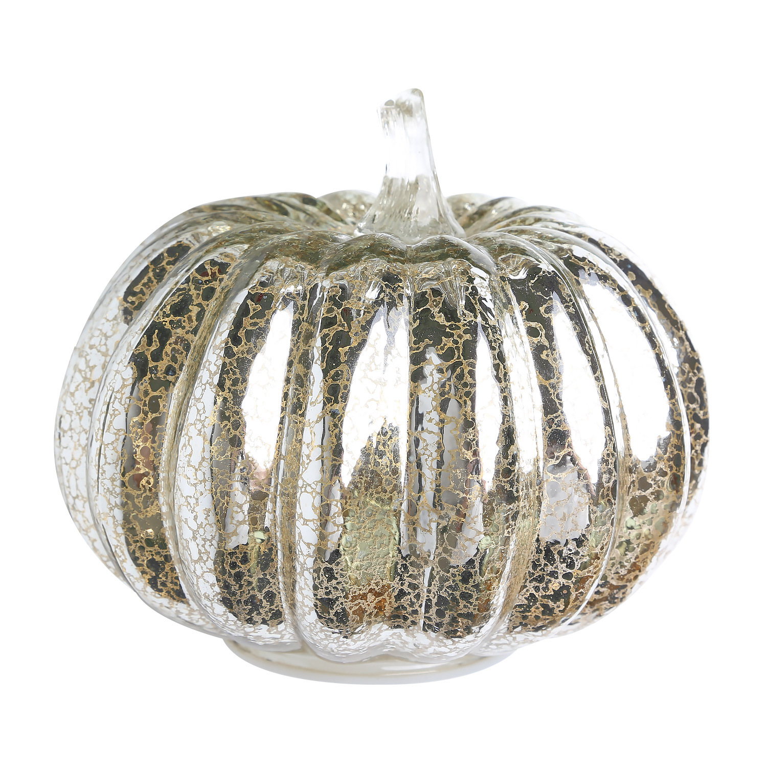 Glass Pumpkin Lamp for Halloween Ghost Party Festival Decorations  Silver 16.3*14cm