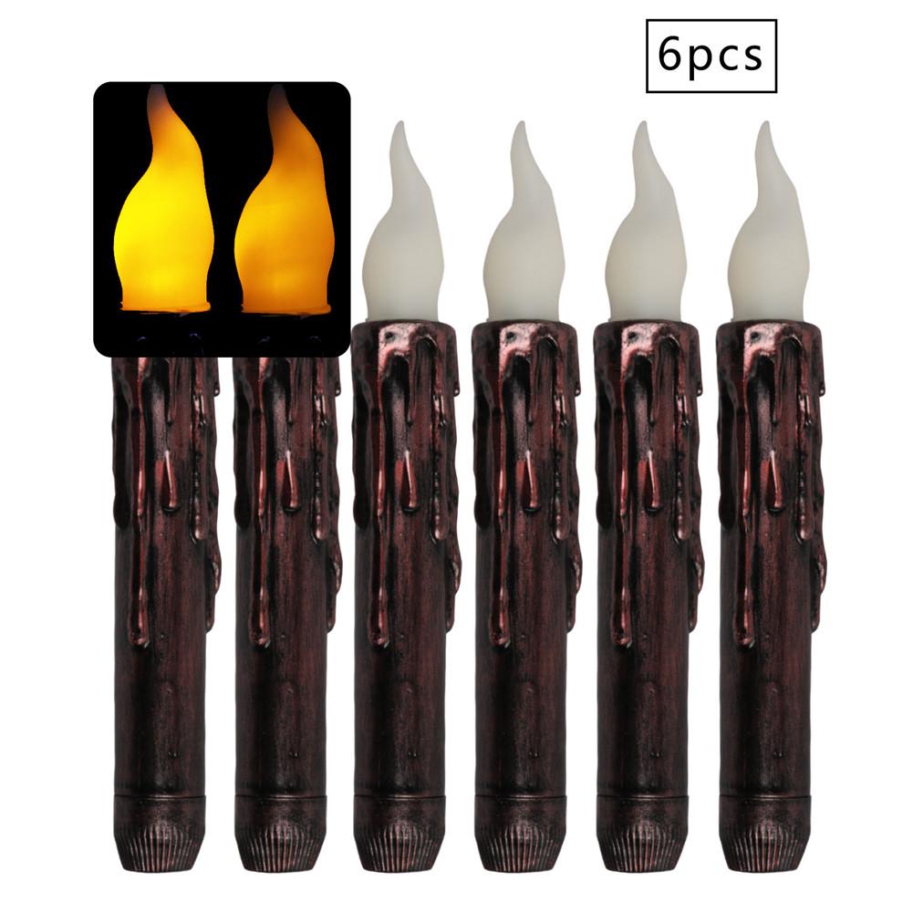 6PCS LED Long-Pole Electronic Candle for Halloween Christmas Religious Decorative  2.0*17cm yellow flash
