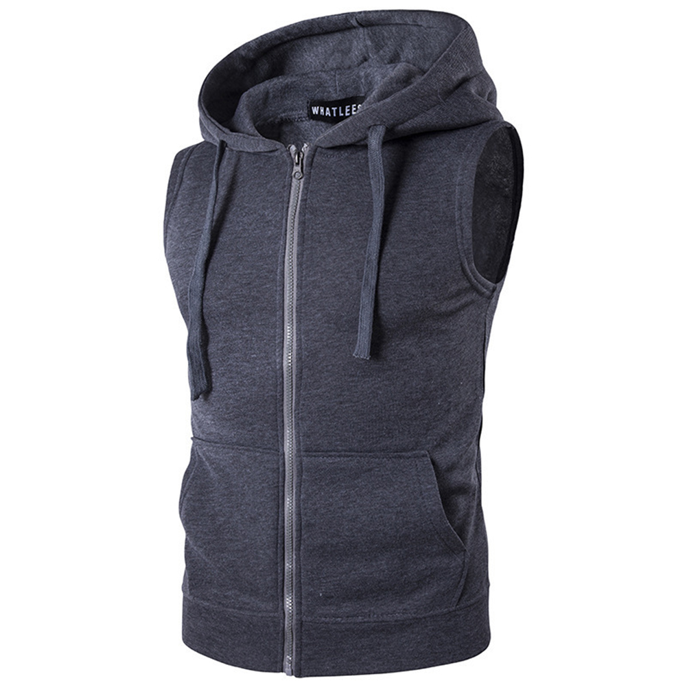Men Women Sleeveless Hooded Tops Solid Color Zipper Fashion Hoodies  Dark gray_L