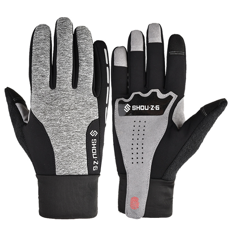 Fleece Gloves Autumn Winter Warm Gloves Touch screen Waterproof Elastic Non-slip Gloves for cycling  gray_XL