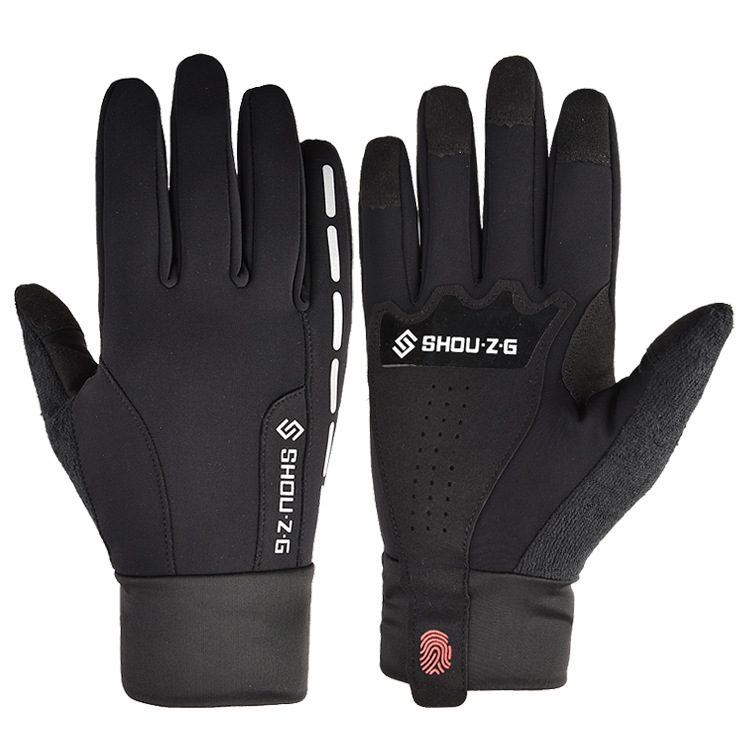 Fleece Gloves Autumn Winter Warm Gloves Touch screen Waterproof Elastic Non-slip Gloves for cycling  black_L