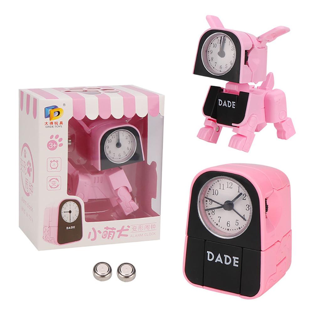 Cartoon Small Alarm Clock Children Multi-function Deformation Cute Robot Electronic Alarm Clock Pink