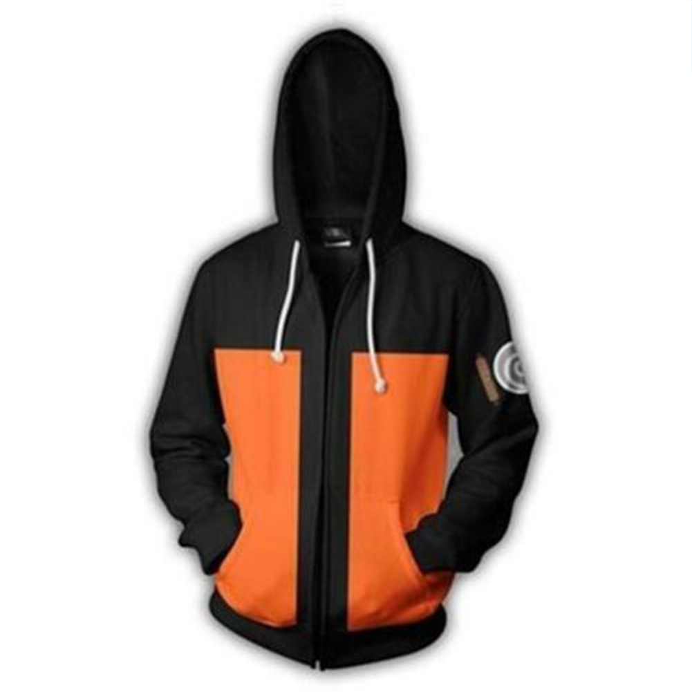 Unisex Cartoon 3D Printing Digital Zipper Hoodies  Q-0833-YH07 orange_S