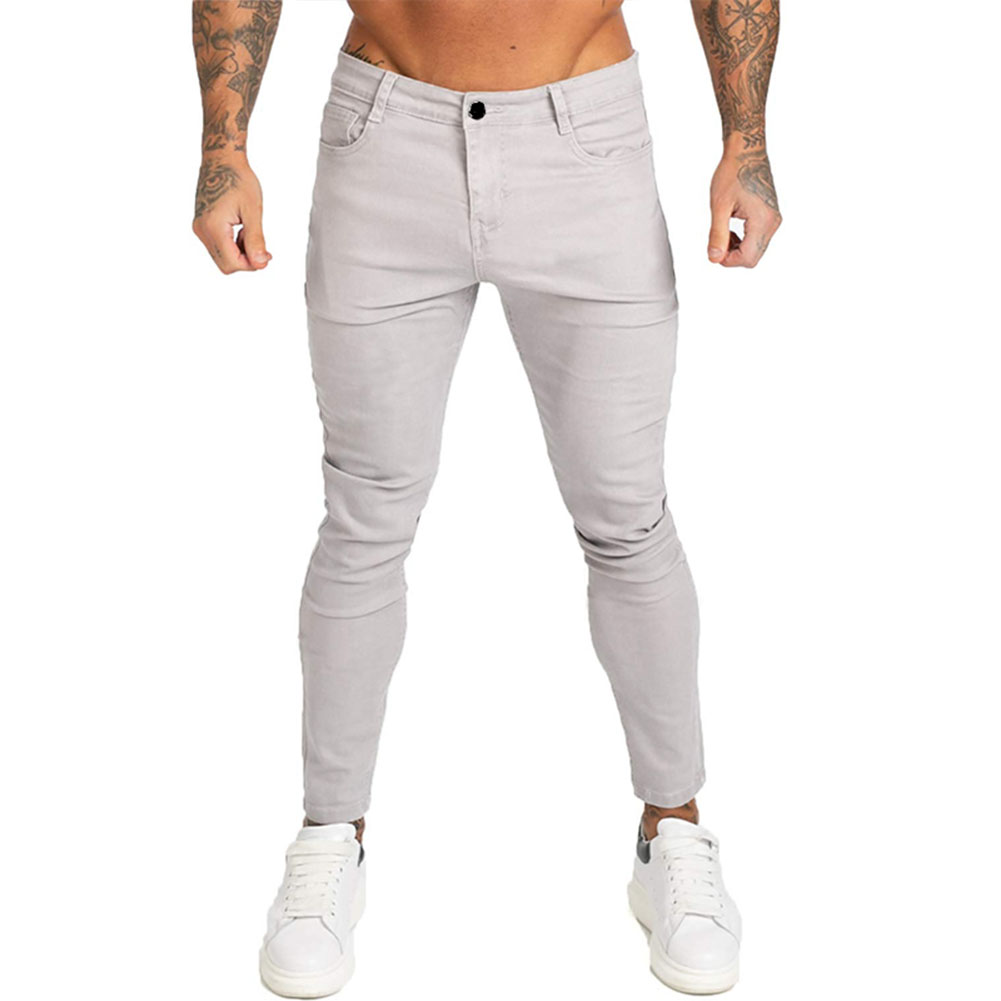 Men Winter Jeans Middle Waist Trousers Pants for Autumn Winter  Light gray_XL
