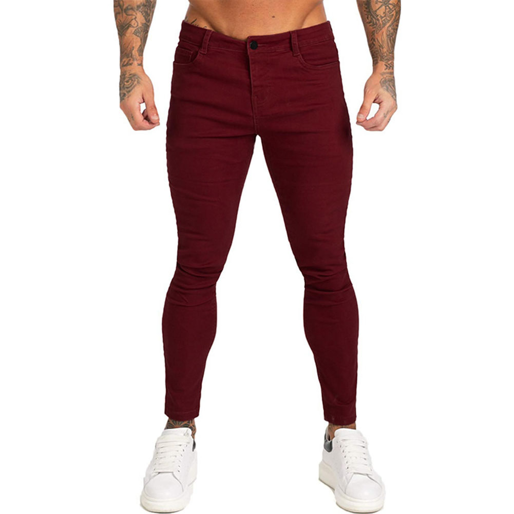 Men Winter Jeans Middle Waist Trousers Pants for Autumn Winter  Wine red_M