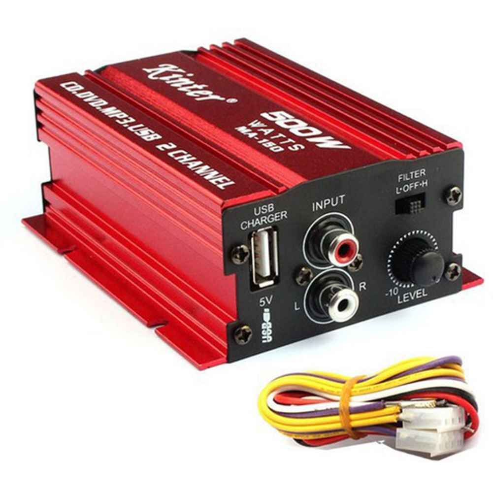 MA150 500W Car Motorcycle 12V 2CH 2 Channel Audio AMP Amplifier Subwoofer red