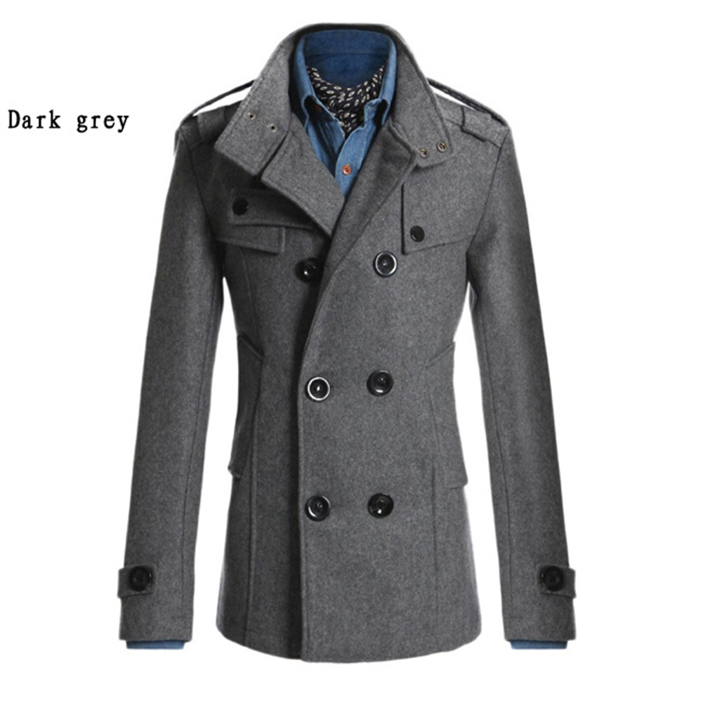 Men Winter Warm Trench Coat Reefer Jackets Solid Color Stand Collar Double Breasted Peacoat Dark gray_L
