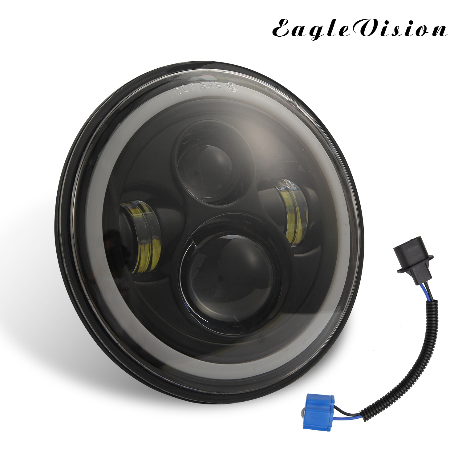 7 Inch LED Headlights DRL Hi/Lo Beam  Halo Ring Amber Angel Eye For Car/Motorcycle White light