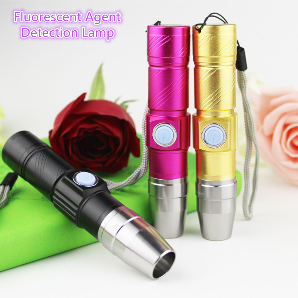 365NM USB Fluorescent Agent Detection Lamp Purple-light Torch Jade Paper Currency Detection Light black