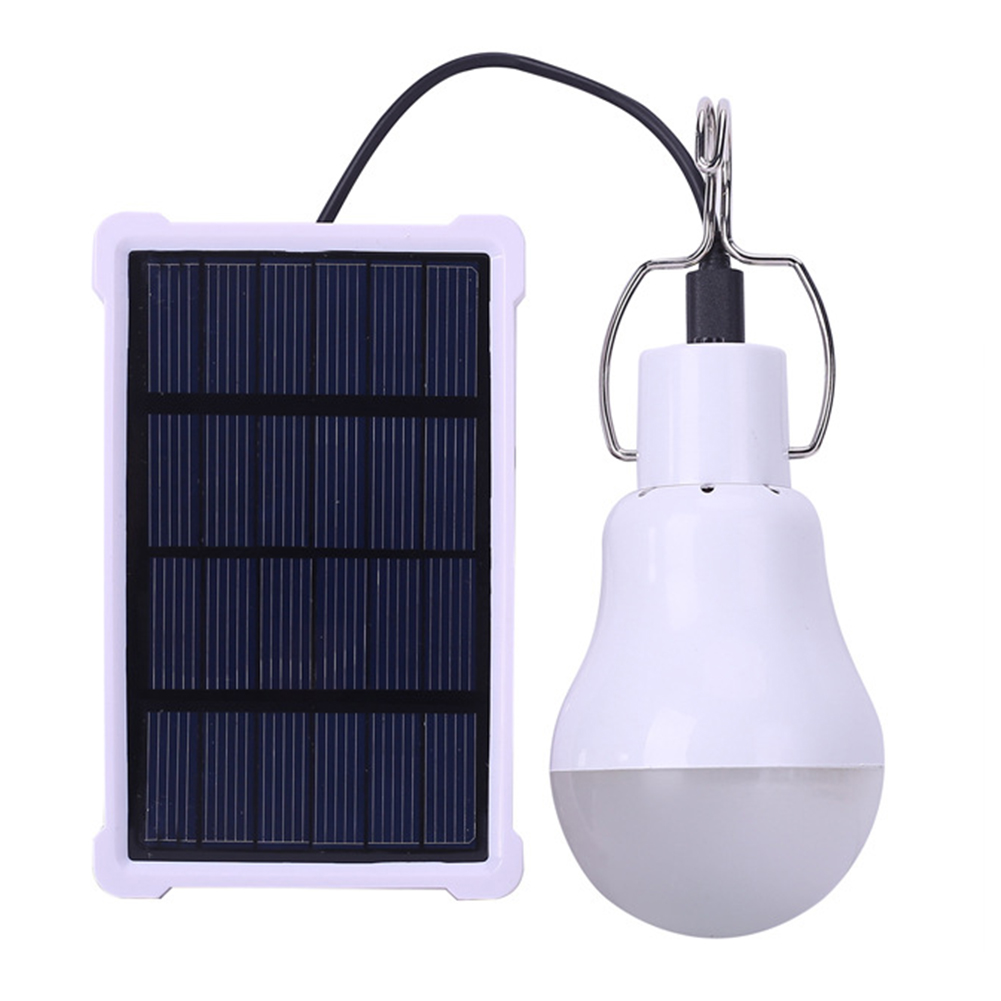 Solar-Powered Outdoor LED Camping Bulb Light Sensor Tent Lamp Home Emergency Light With frame