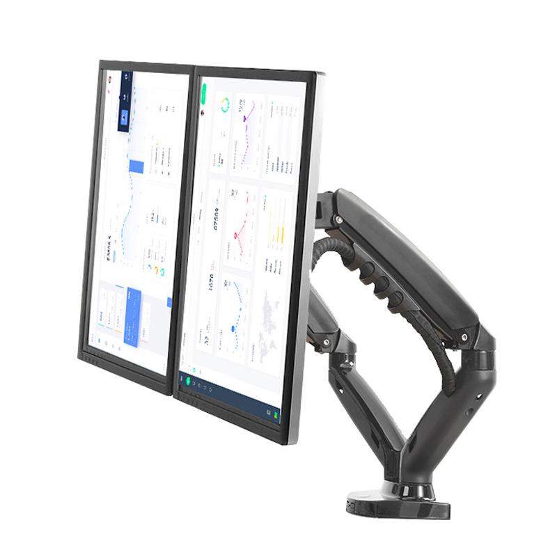 F160 Desktop Computer Dual-screen Monitor Bracket Lifting Rotating Telescopic Screen Bracket Stand black