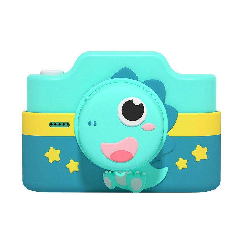 C4 Wifi 4800w Dual Cards Children Digital Camera Christmas Gift Kids Camera Dinosaur Green