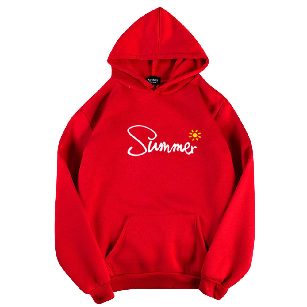 Men Women Hoodie Sweatshirt Thicken Velvet Summer Sun Loose Autumn Winter Pullover Tops Red_M