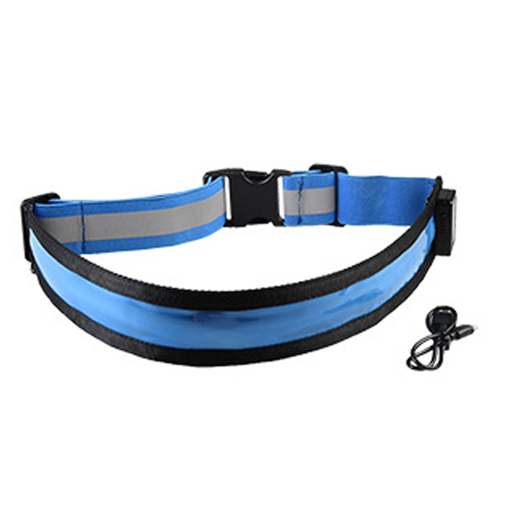 USB Rechargeable LED Belt Flash Safety Light Belt for Runner blue_One size