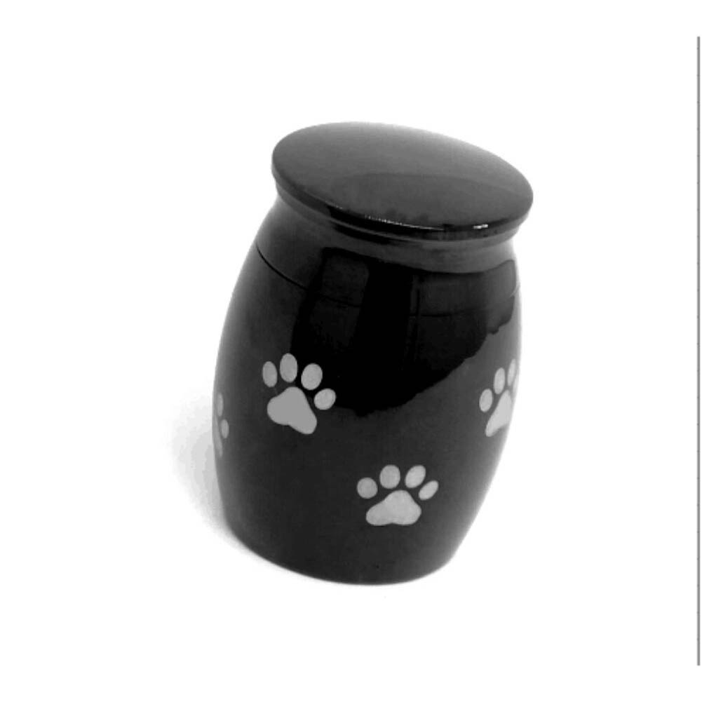 Stainless Steel Funeral Urns for Pet Dogs Cats Ashes Keepsake Miniature Burial Funeral Urns 40 * 29mm black paw print jar