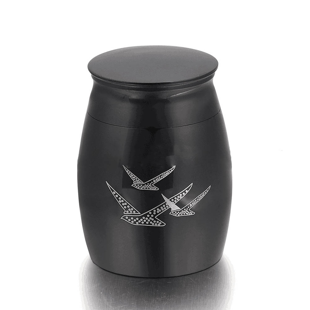 Stainless Steel Funeral Urns for Pet Dogs Cats Ashes Keepsake Miniature Burial Funeral Urns 40 * 29mm black three birds
