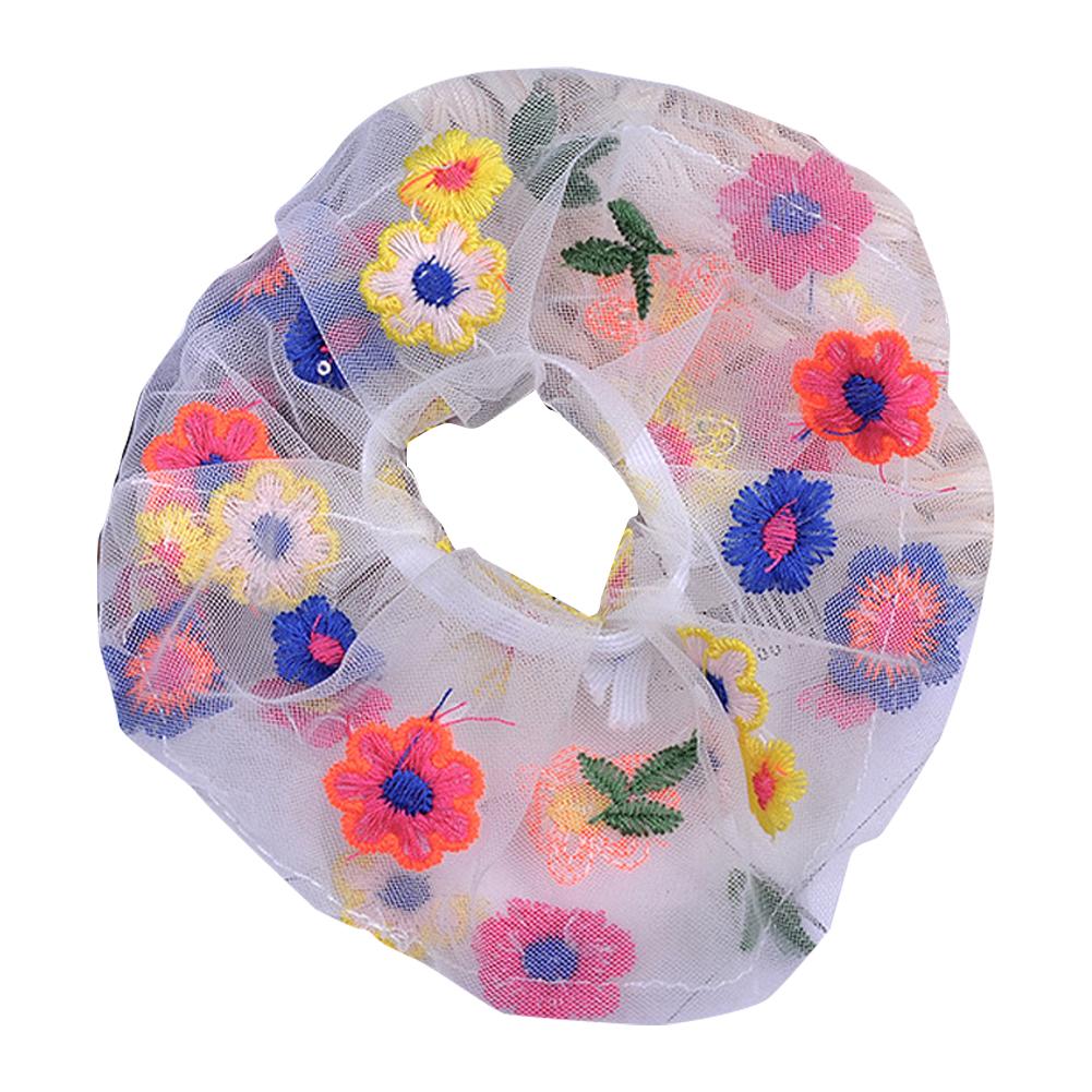 Girl Tulle Hair Rope Embroidery Flower Elastic Rubber Band Ponytail Headwear Headdress white