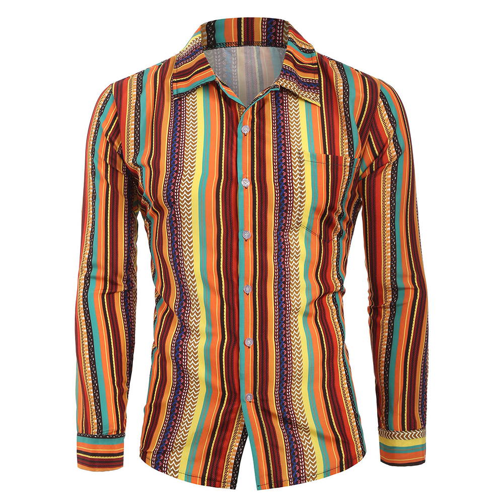 Men Casual Long Sleeve Digital Printing T Shirt Cardigan Orange_M