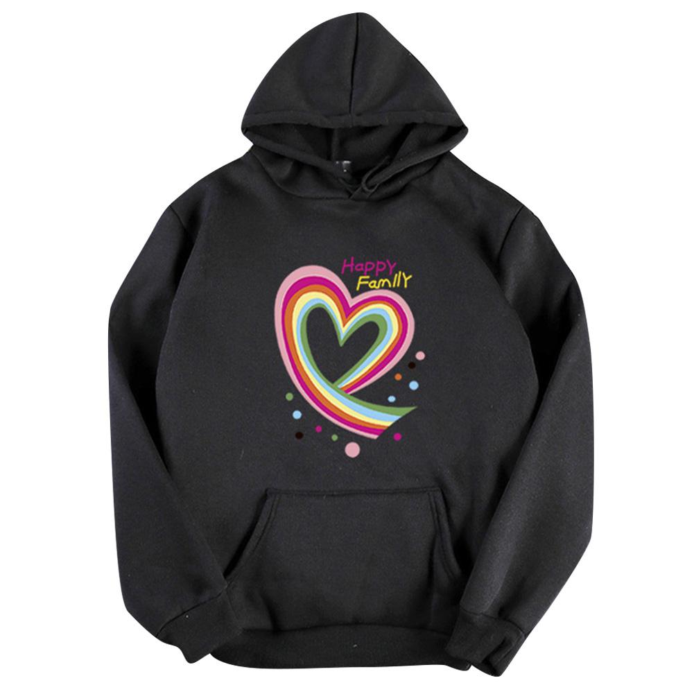 Men Women Hoodie Sweatshirt Happy Family Heart Thicken Loose Autumn Winter Pullover Tops Black_M