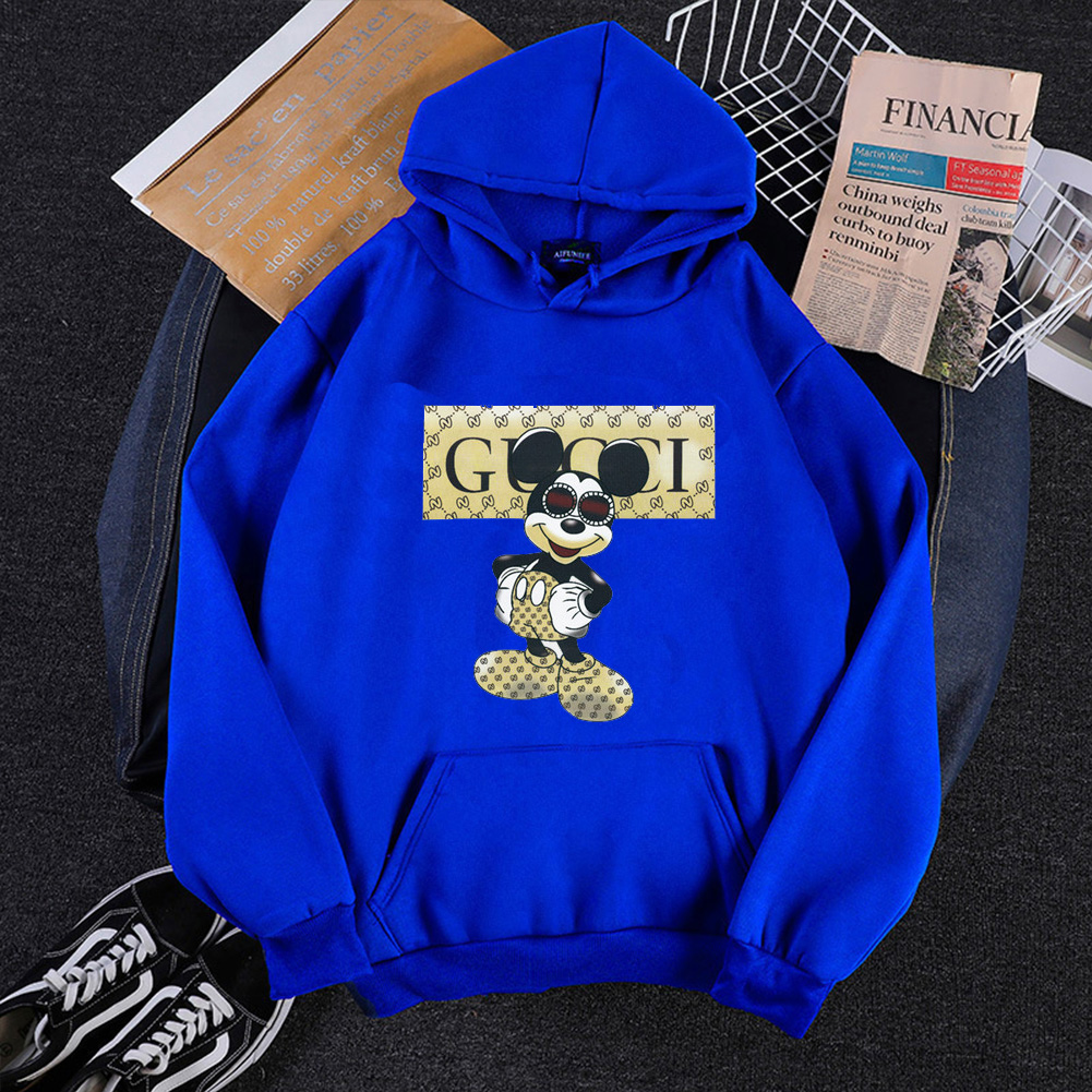 Men Hoodie Sweatshirt Cartoon Micky Mouse Autumn Winter Loose Student Couple Wear Pullover Blue_L