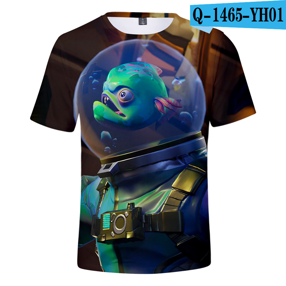 Casual 3D Cartoon Pattern Round Neck T-shirt Picture color AM_M