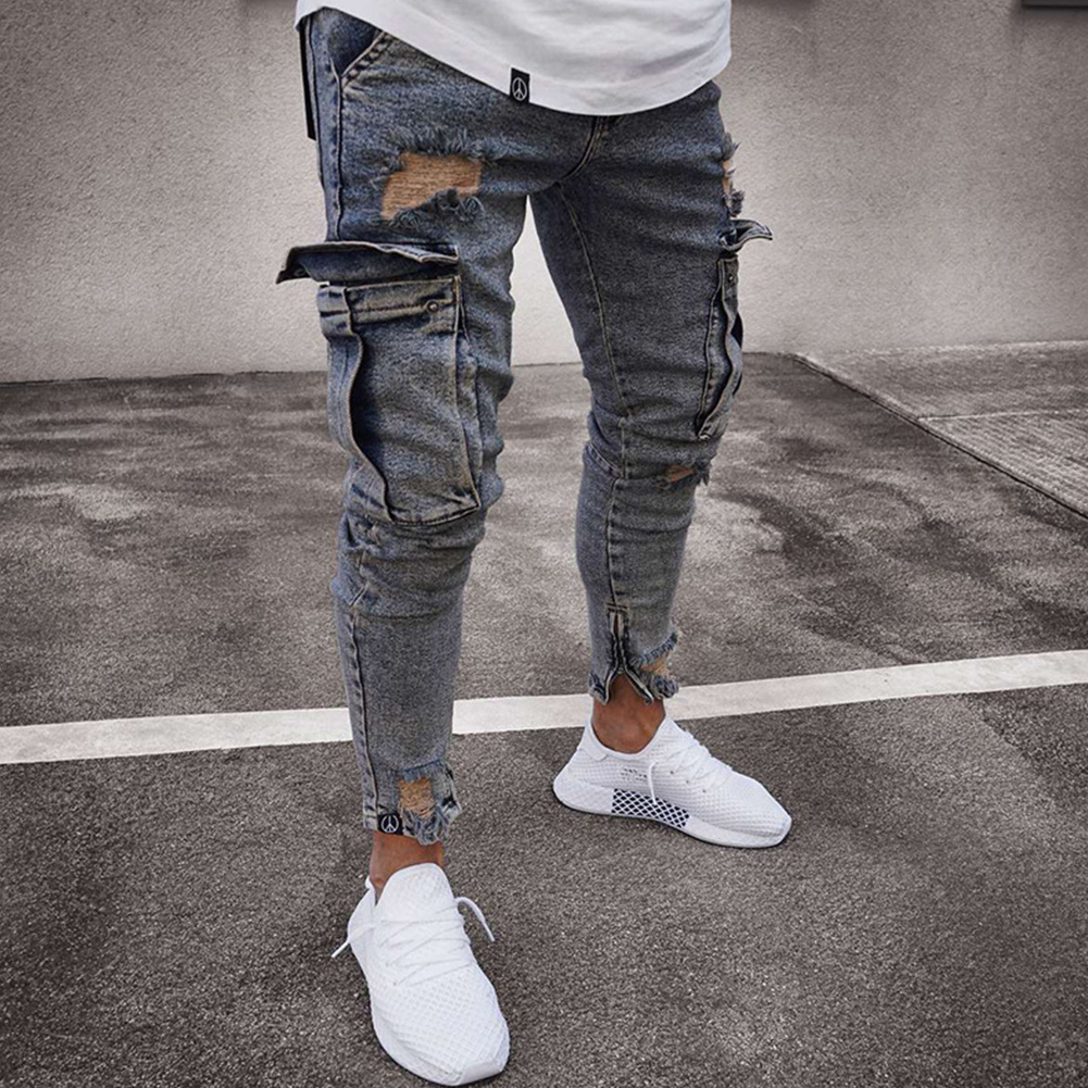 Men Women Fashion Elastic Zipper Broken Hole Jeans Pencil Pants Nostalgic blue_XXL