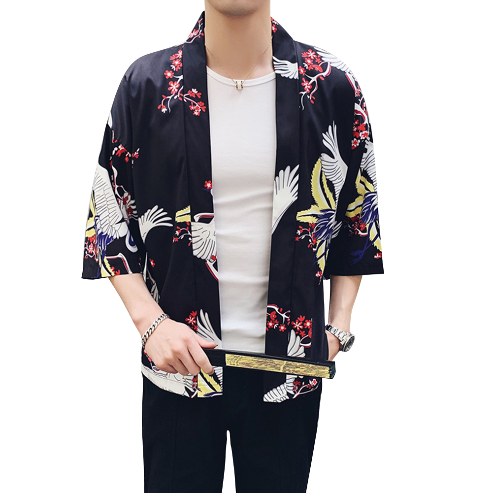 Men Women Classic Shirts Three Quarter Sleeve Pattern Printing Thin Blouse  8892 black_M