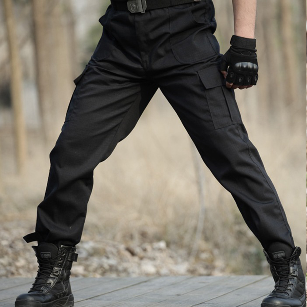 Unisex Overalls Trousers Tactical Training Trousers Loose Wear-resistant Pants Black training six pockets_175=L