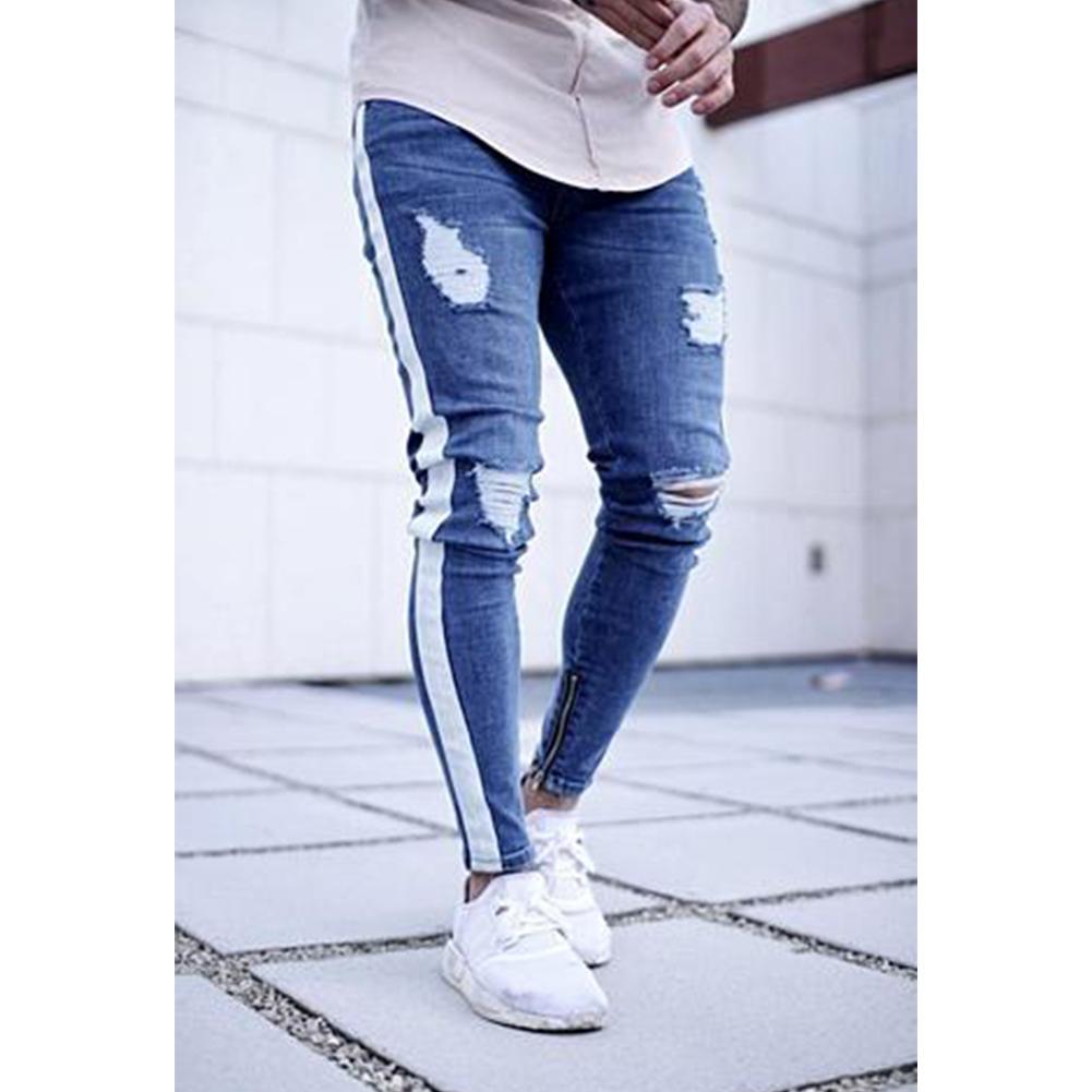 Men Women Fashion Zipper Splicing Broken Hole Jeans Pants Light blue_XXL