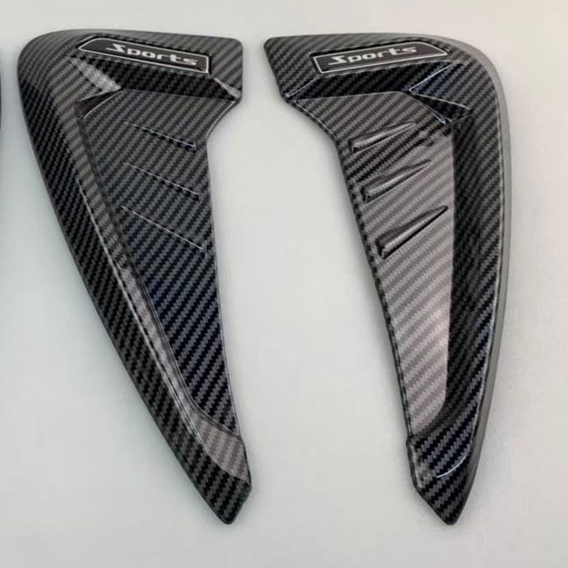 2Pcs Car Side Mudguard Air Vent Covers Black Rubber Shark Gills Decoration Sticker Carbon fiber black