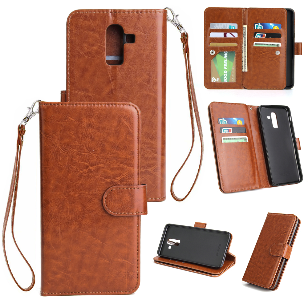 For Samsung J8 2018 PU Non-slip Shockproof Cell Phone Case with 9 Card Slots Lanyard Bracket brown