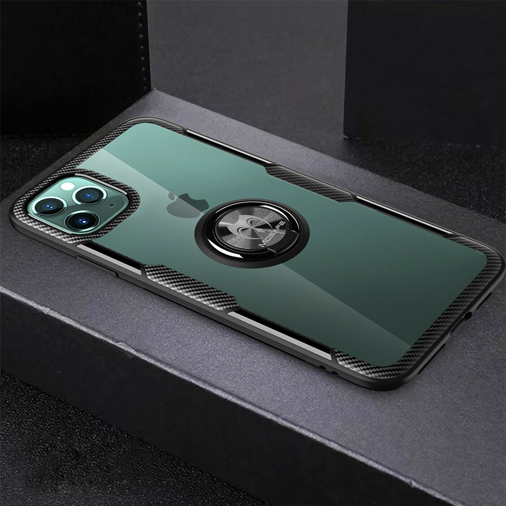 For iPhone 11 Pro max Magnetic Shockproof Ring Holder TPU Protective Case Cover black_iPhone11
