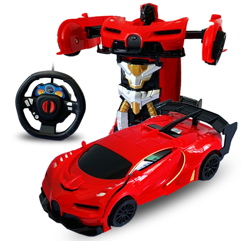 1/24 Deformation Remote Control Car Electric Robot Children Toy Gift red_1:24