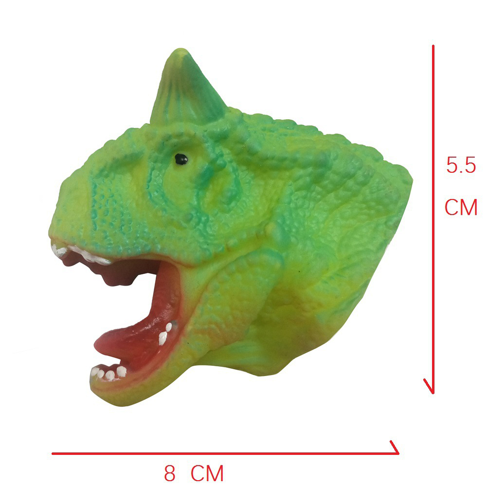 Children Silicone Funny Simulation Doll Puppet Mold Finger Toys Green Two-horned Dragon