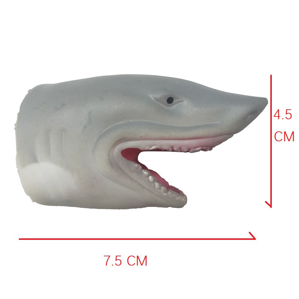 Children Silicone Funny Simulation Doll Puppet Mold Finger Toys Grey shark