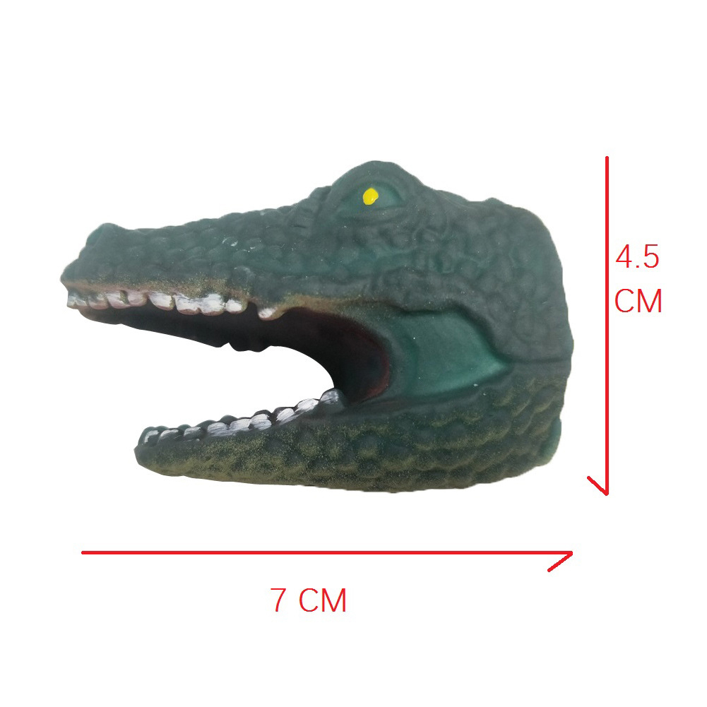 Children Silicone Funny Simulation Doll Puppet Mold Finger Toys Green Crocodile