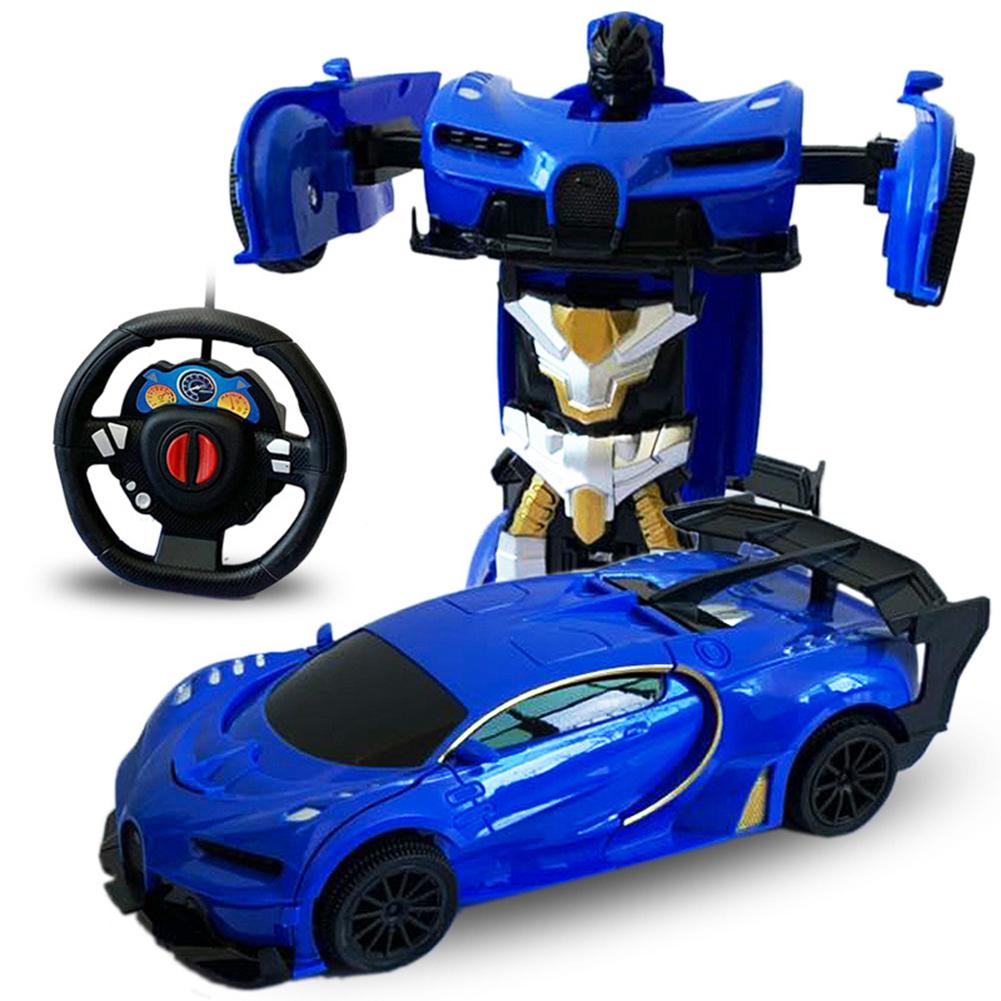 1/24 Deformation Remote Control Car Electric Robot Children Toy Gift blue_1:24